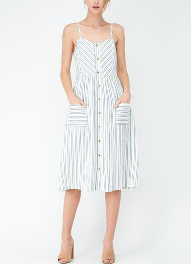 Striped Maxi Dress With Front Buttons