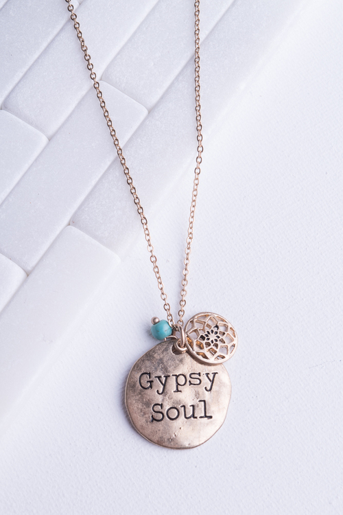 Gypsy Soul Engraved Round Metal Disc Pendant Necklace