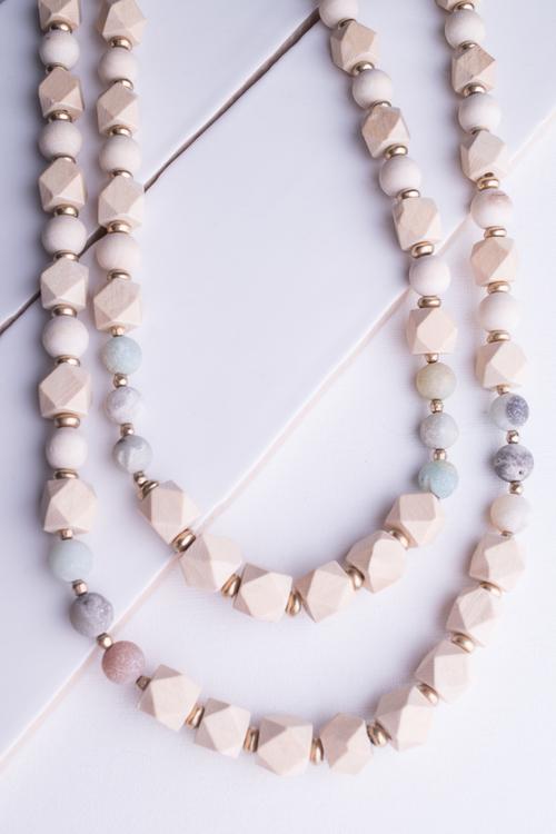 Ivory Wood & Multi Stone Beaded Necklace