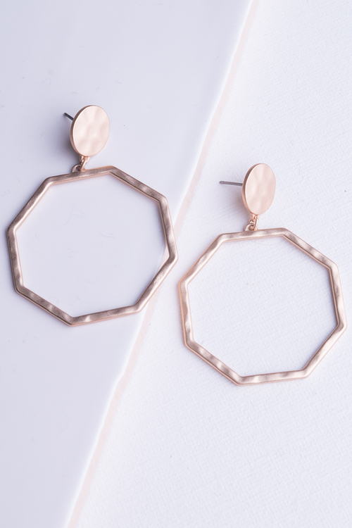Hammered Hex Dangle