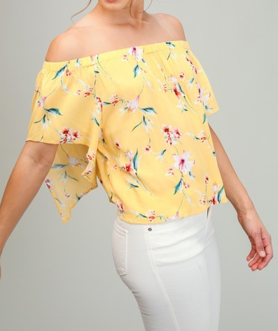 Woven Floral Off The Shoulder Top