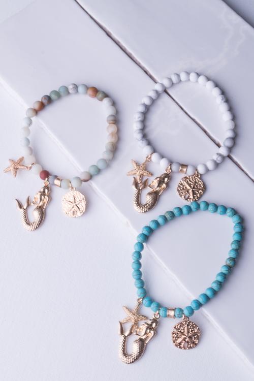Mermaid Starfish Sanddollar Stretch Bracelet
