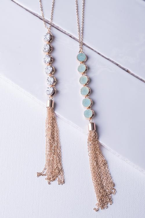 Druzy Tassel Long Necklace