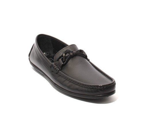 Black Leather Tassel Moccasins Loafers