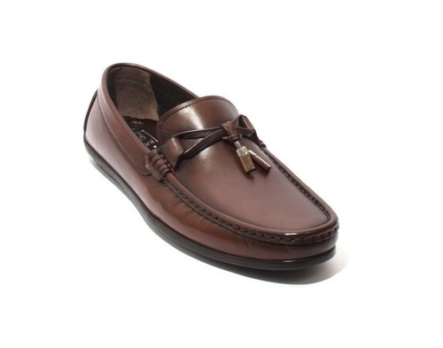 Brown Leather Tassel Moccasins Loafers