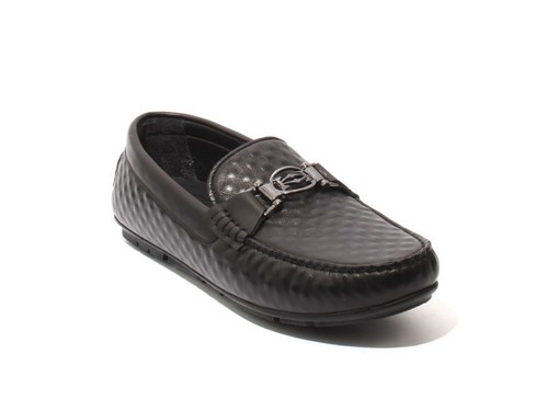 Black Soft Leather Slipper Moccasins Loafers