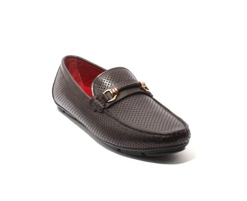 Brown Perforated Leather Moccasins Loafers