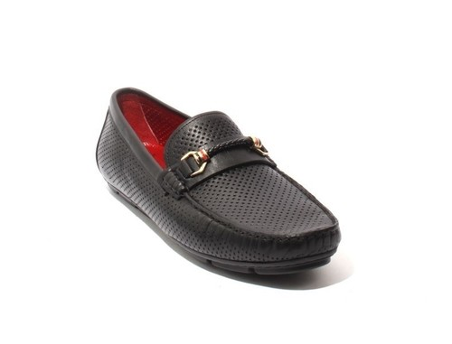 Black Perforated Leather Moccasins Loafers