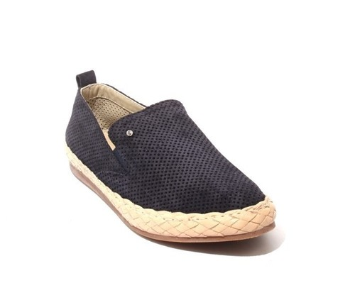 Navy / Beige Suede / Leather Slip-On Loafers