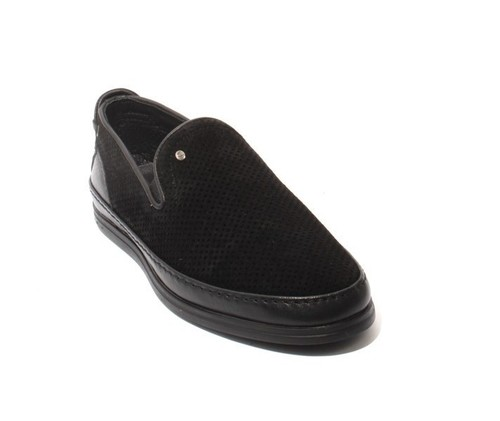 Black Suede / Leather Slip-On Moccasins Loafers