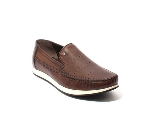 Brown / White Leather Moccasins Loafers