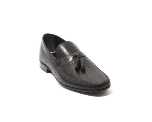 Black Leather Slip On Tassel Loafers Shoes