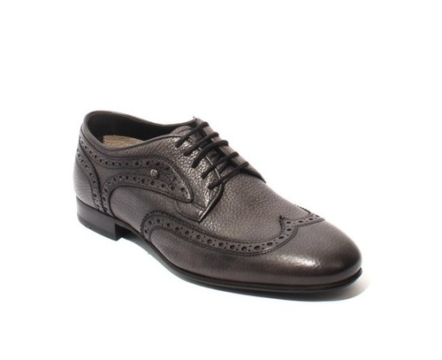 Antique Gray Leather Lace-Up Oxfords Shoes