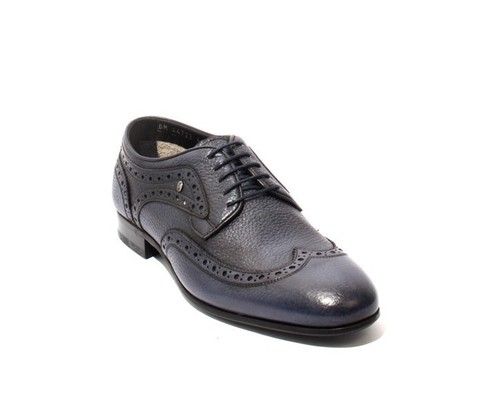 Antique Navy Leather Lace-Up Oxfords Shoes