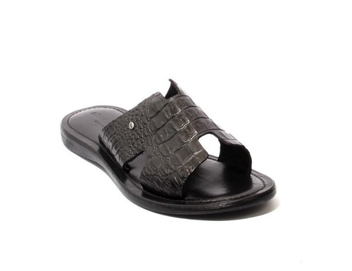 Black Stamped Leather Slides Men Sandals