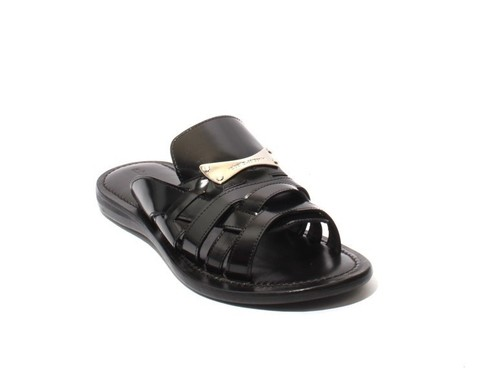 Black Perlato Leather Slides Men Sandals