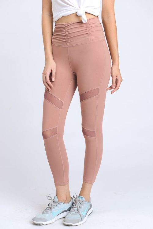 Ruched High Waist Leggings w/ X Mesh Pannels