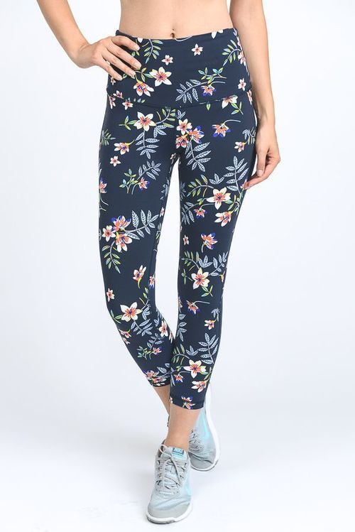 High Waist Cherry Blossom Capri Leggings