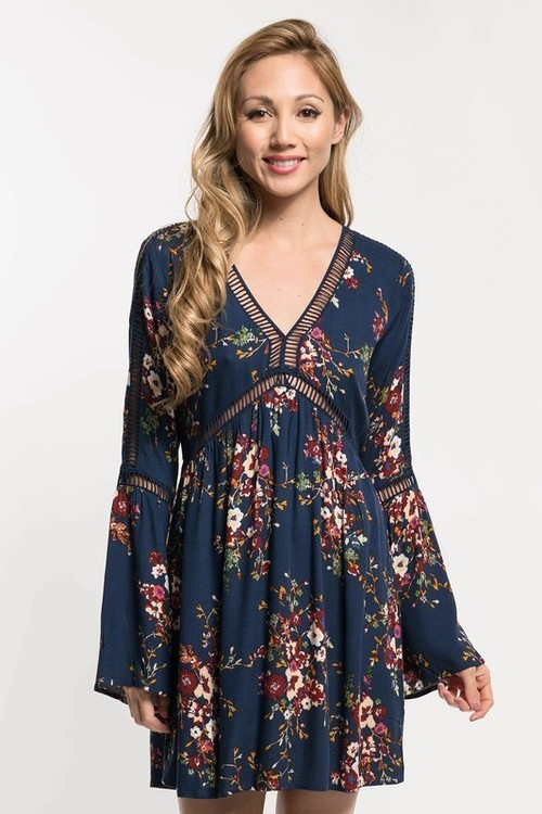 Printed Lattice Trim Bell Sleeve Dress Blue Violet