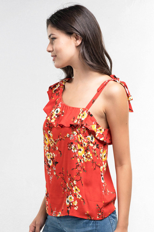 Red Floral Asymmetrical Ruffle Tank