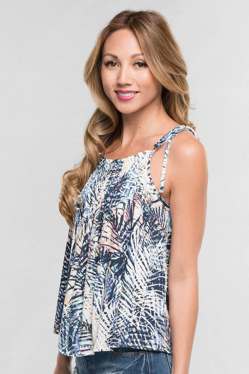 Abstract Print Tie Strap Tank