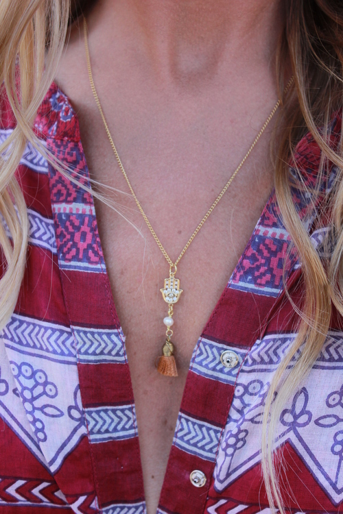 Hamsa with Pearl Long Necklace