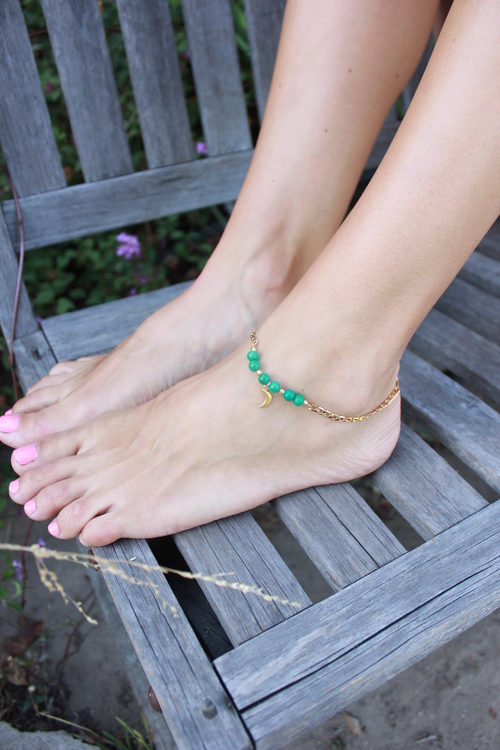 Turquoise Crescent Anklet