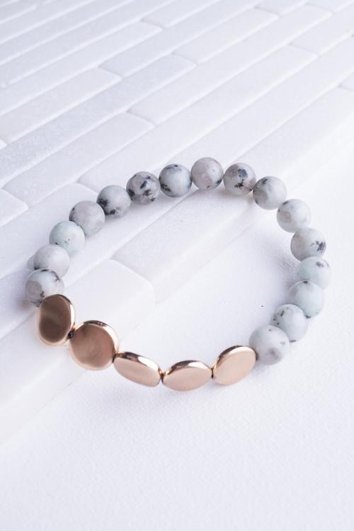 Jade & Gold Disk Stretch Bracelet