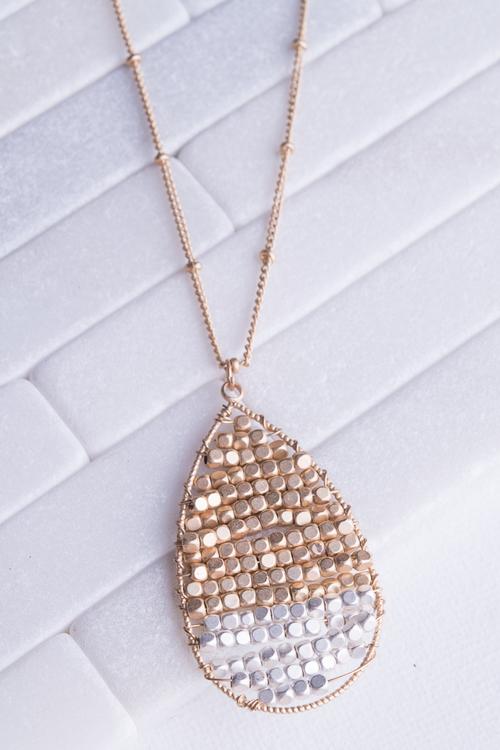 Teardrop Metal Beaded Long Necklace