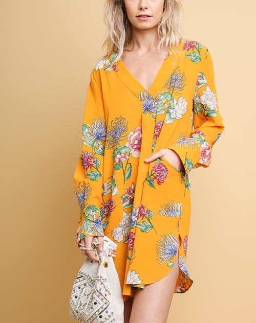 Floral Print V-Neck Pocket Dress