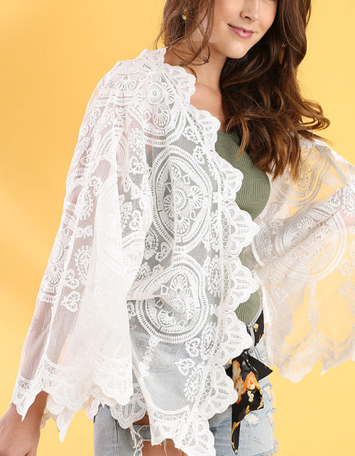 Open Front Lace Wide Sleeve Kimono