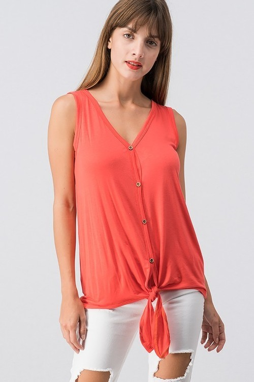 Jersey Button Down Knot Top Coral