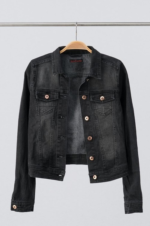 Vintage Washed Black Denim Jacket
