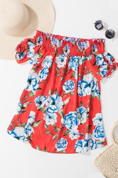 Floral Off Shoulder Knotted Top
