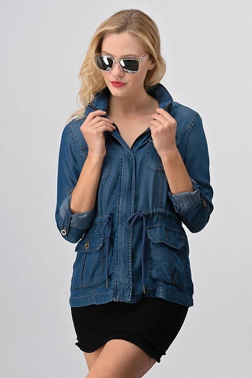 Chambray Roll Sleeve Jacket