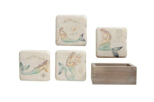 Mermaid Coasters in Square Box