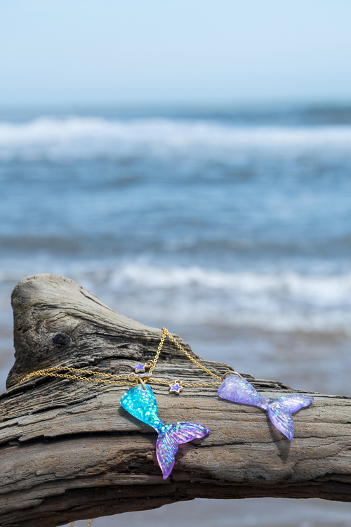 Mermaid Tail Necklace Purple