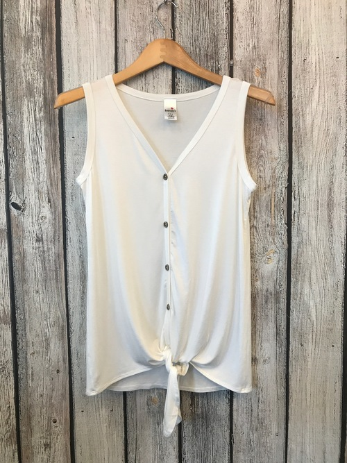 Jersey Button Down Knot Top White