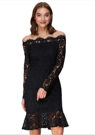 Virna Dress in Black Lace