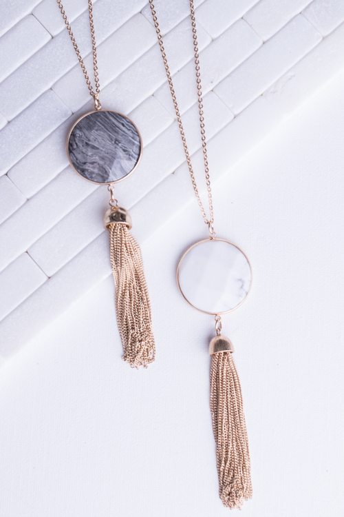 Stone Chain Tassel Necklace