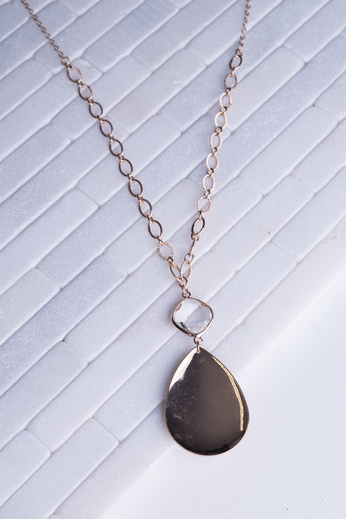 Teardrop Crystal Long Necklace