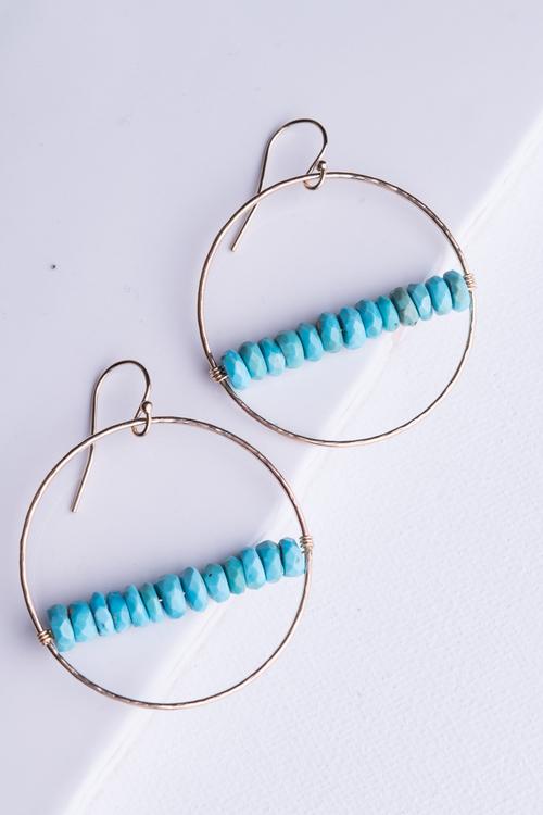 Circle Turquoise Bar Earring- Gold