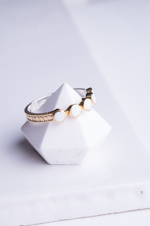 """Clarity"" White Agate Multi Stone Stack Ring"