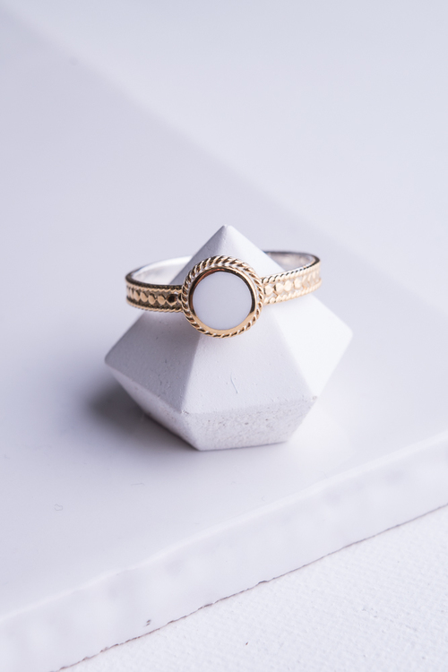 """Clarity"" White Agate Single Stone Stack Ring"