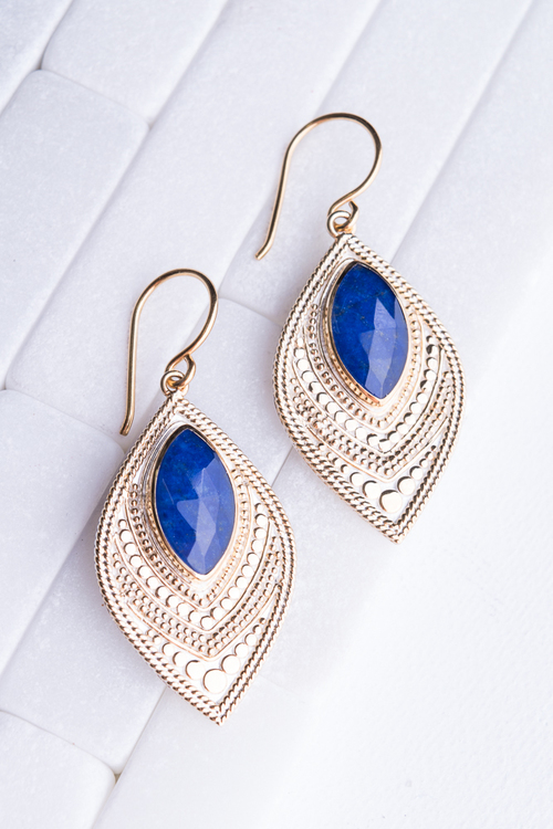Lapis Marquise Divided Drop Earring