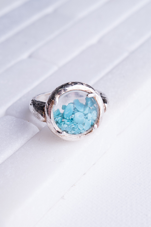 Turquoise Chips Shaker Ring