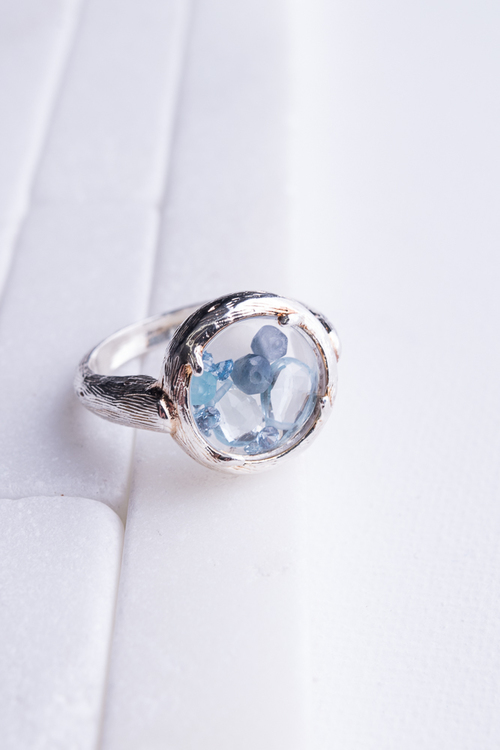 Silver Shaker Ring w/ Blue Crystals