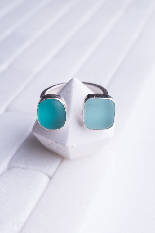 Double Aqua Sterling Ring
