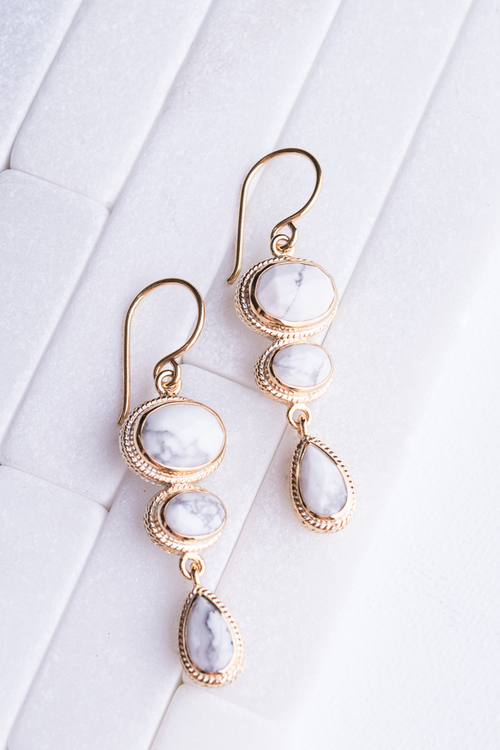 White Howlite Multi-Stone Drop Earrings