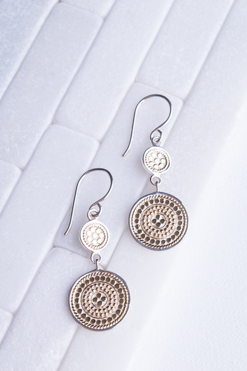 Signature Double Medallion Gold Dangle